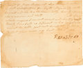 Miscellaneous:Ephemera, [Slavery] Handwritten Slave Receipt....