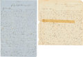 Military & Patriotic:Civil War, [Civil War]. Confederate Soldier's Letters. Texas Cavalry, 17th Regiment. ...