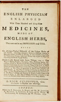 Books:Medicine, [Herbology]. Nich[olas] Culpepper. The English Physician Enlarged with Three Hundred and Sixty-Nine Medicines, Made of E...