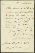 "Autographs:Military Figures, Charles Stewart, Captain of the U.S.S. Constitution Autograph Letter Signed ""C. L. Stewart"". One page, 4.75"" x 7.25"", Bo..."