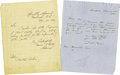"""Autographs:Military Figures, Admiral David Porter Autograph Letters Signed """"David D. Porter Admiral"""" and """"D. D. Porter"""". A lot of two letters wri..."""
