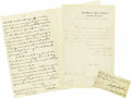 "Autographs:Military Figures, Lot of Four Union General's Autograph Letters including a JosephHooker clipped signature ""Joseph Hooker Maj. Genl. Co... (Total:4 Items)"