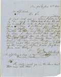 "Autographs:Statesmen, 1848 Timothy T. Jenkins Autograph Letter Signed ""Timothy T.Jenkins"". One page, 8.25"" x 10.75"", New York, June 16, 1848,..."