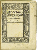 "Miscellaneous:Brochures, 1523 Sermon Attributed to Martin Luther. Four leaves, 16mo (6"" x8""), title within woodcut border in the Holbein style, some..."