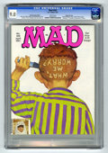 Magazines:Mad, Mad #302 Hussein Asylum Edition - Gaines File pedigree (EC, 1991)CGC VF/NM 9.0 White pages. Richard Williams cover. Siskel ...