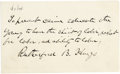 Autographs:U.S. Presidents, President Rutherford B. Hayes Autograph Manuscript Signed...