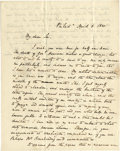 "Autographs:U.S. Presidents, Letter Regarding the Death of President William Henry Harrison, twopages with integral address panel, 8"" x 10"", from John S... (Total:1 Item)"