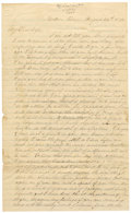 """Autographs:Military Figures, Union Officer's Letter Home Regarding Slavery, four pages, 7.5"""" x 12.5"""", Medon, Tennessee, August 24, 1862. The identity of ... (Total: 1 Item)"""