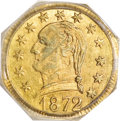 California Fractional Gold, 1872 25C Washington Octagonal 25 Cents, BG-723, Low R.6, MS61PCGS....