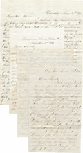 """Autographs:Military Figures, Four Civil War Era Letters, as follows:. ALS in pencil from A.H. Kiseher, two pages, 5.25"""" x 8.25"""", Piffin City (?), Dec... (Total: 4 Item)"""