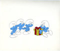 Original Comic Art:Miscellaneous, The Smurfs Animation Production Cel Original Art (undated). It'spresent time for the Smurfs, in this hand painted productio...