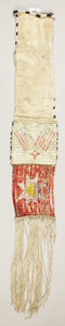 American Indian Art:Beadwork, A SIOUX QUILLED AND BEADED HIDE TOBACCO BAG. c. 1880...