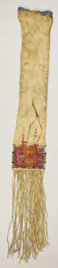 American Indian Art:Beadwork, A MANDAN/HIDATSA/ARIKARA QUILLED AND BEADED TOBACCO BAG. c. 1880...