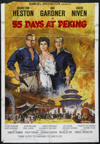 """55 Days at Peking (Allied Artists, 1963). One Sheet (27"""" X 39""""). Historical Drama. Directed by Nicholas Ray. S..."""
