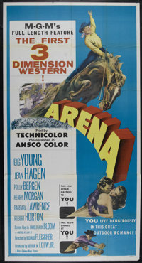 """Arena (MGM, 1953). Three Sheet (41"""" X 81""""). Western. Directed by Richard Fleischer. Starring Gig Young, Jean H..."""