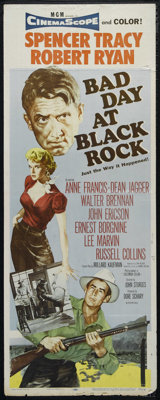 """Bad Day at Black Rock (MGM, 1955). Insert (14"""" X 36""""). Thriller. Directed by John Sturges. Starring Spencer Tr..."""