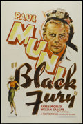 "Movie Posters:Crime, Black Fury (First National, 1935). One Sheet (27"" X 41""). Drama.Directed by Michael Curtiz. Starring Paul Muni, Karen Morle..."