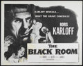 """Movie Posters:Horror, The Black Room (Columbia, R-1955). Half Sheet (22"""" X 28""""). Horror. Directed by Roy William Neill. Starring Boris Karloff, Ma..."""