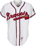 Baseball Collectibles:Uniforms, 1995 John Smoltz Game Worn Atlanta Braves Jersey with Braves Letter....