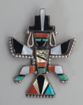 American Indian Art:Jewelry and Silverwork, A Zuni Silver and Stone Brooch...
