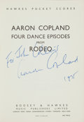 Books:Music & Sheet Music, [Musical Score]. Aaron Copland. Four Dance Episodes fromRodeo. London; New York: Boosey & Hawkes, [1946]....