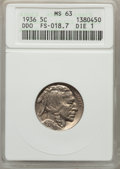 1936 5C Doubled Die Obverse, FS-101, Die 1, MS63 ANACS. (FS-018.7). NGC Census: (0/0). PCGS Population (9/20)