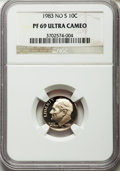 Proof Roosevelt Dimes, 1983 10C NO S PR69 Ultra Cameo NGC. NGC Census: (105/4). PCGSPopulation (156/1). Numismedia Wsl. Price for problem free N...