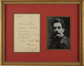 Autographs:Non-American, Giacomo Puccini Autograph Note Signed. ...