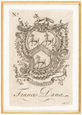 Books:Americana & American History, [Bookplates]. Bookplates by Nathaniel Hurd. [America, late 18thC.].... (Total: 3 Items)