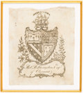 Books:Americana & American History, [Bookplates]. Six Bookplates of Prominent Early Americans.[American, late 18th C.]. ... (Total: 2 Items)