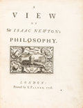 Books:Philosophy, [Sir Isaac Newton]. A View of Sir Isaac Newton's Philosophy.London: 1728....