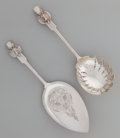 Silver Flatware, American:Gorham, A Gorham Saxon Stag Pattern Coin Silver Macaroni and PieServer, Providence, Rhode Island, designed 1855. Marks:... (Total:2 )