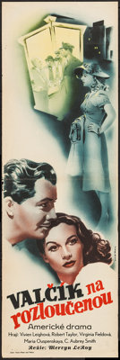 "Waterloo Bridge (Statni Pujcovna Filmu, 1947). First Post-War Release Czech Poster (12"" X 37""). Romance"