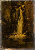 Books:Art & Architecture, [Sidney H. Sime]. Original Oil Painting on Wood Panel. Study of aWaterfall. N.d. [circa 1910]....
