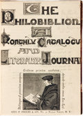 Books:Periodicals, [Bound Periodicals]. Two Volumes of The Philobiblion: A Monthly Bibliographical Journal. N[ew] Y[ork]: Geo. P. P...