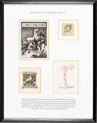[Bookplates]. [Various artists]. Collection of Four Bookplates by Prominent Artists. [America, Spain, early 20th century...