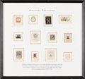Books:Americana & American History, [Bookplates]. [ Various artists]. Collection of Twelve Bookplates.[N.p., 1890 - 1940]. Designed for miniature books that co...