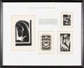 Books:Americana & American History, [Bookplates]. [Paul Landacre]. Collection of Four bookplates.[California, 1939]. Attractively matted, glazed and framed tog...