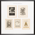 Books:Maps & Atlases, [Bookplates]. Collection of Fifteen Bookplates with Map or GlobeThemes [N.p., n.d., though circa early to mid-1900's]. ... (Total:3 Items)
