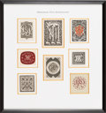 Books:Fine Press & Book Arts, [Bookplates]. Collection of Eight Monogram Bookplates. [N.p.,n.d.]. ...