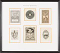 Books:Fine Press & Book Arts, [Bookplates]. Collection of Six Religious Bookplates. [N.p., n.d.,though one is dated 1774]. ...