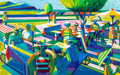 , Roland Petersen (American, b. 1926). Summer Picnic, 2010.Oil on canvas. 43-1/2 x 69 inches (110.5 x 175.3 cm). Signed a...