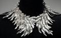 Estate Jewelry:Necklace, An Eduardo Herrera Silver Feather Collar, Taxco, Mexico, 2015. Marks: EH, MEXICO, .950. 17 inches long (... (Total: 2 Items)