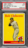 Baseball Cards:Singles (1950-1959), 1958 Topps Roberto Clemente, Yellow Letters #52 PSA NM 7....