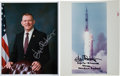 """Autographs:Celebrities, Gene Kranz Signed Color Photos (Two), One a NASA Original Apollo 13""""Red Number"""" Example. ... (Total: 2 Items)"""