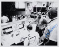 Autographs:Celebrities, Apollo 14 Mission Control Photo Signed by Three Flight Directors:Lunney, Griffin, and Kranz. ...