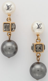 """Louis Vuitton Silver & Glass Pearl Earrings with Gold Hardware Very Good Condition .5"""" Width x 1"""""""