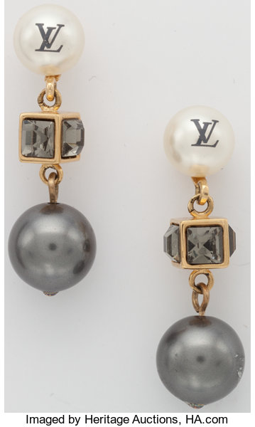 Luxury Accessories Louis Vuitton Silver Gl Pearl Earrings With Gold Hardware