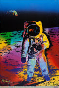 "Explorers:Space Exploration, Buzz Aldrin and Peter Max Signed Peter Max ""Apollo 11 - Walking onthe Moon 1969/1999"" Print Originally from Aldrin's Personal..."