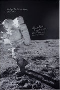 Autographs:Celebrities, Edgar Mitchell Signed Large Apollo 14 Lunar Surface Photo. ...